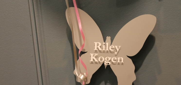 Riley Kogen honored with a butterfly on the Landscape of Life wall at NJ Sharing Network Headquarters.